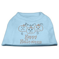 Mirage Pet Products 521301 XLBBL Happy Halloween Rhinestone Shirts Baby Blue XL 16