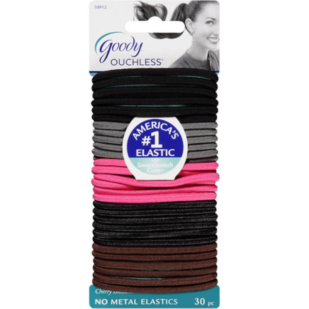 Goody Ouchless No Metal Elastics, Cherry Blossom, 30 count