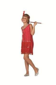 RG Costumes 91033-R-S Deluxe Red Flapper Costume - Size Child-Small