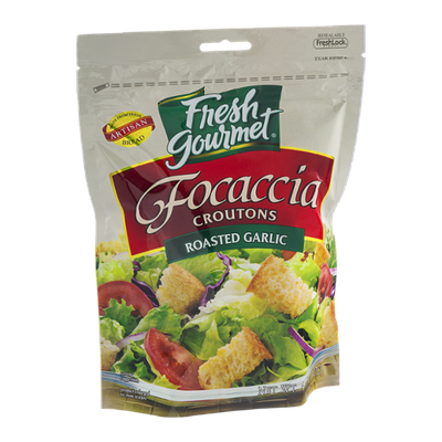 Fresh Gourmet Focaccia Croutons Roasted Garlic