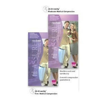 Mediven Assure, Closed Toe, with top band, 20-30 mmHg, Thigh High Compression Stocking, Medium, Beige