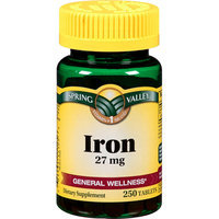 Spring Valley : High Potency Iron 27 Mg Dietary Supplement Tablets