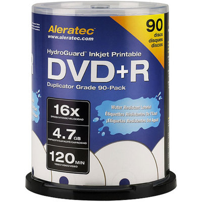 Aleratec HydroGuard Inkjet Printable DVD+R 16x Duplicator Grade 90-Pack