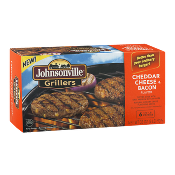 Johnsonville Grillers Cheddar Cheese & Bacon Flavor Patties - 6 CT