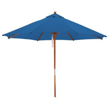Lauren & Company Round Pacific Blue Patio Umbrella with Pulley (Common: 108-in; Actual: 108-in) LCUD003R-PACIFIC
