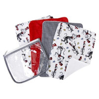 Trend Lab 5-Piece Baby Burp Cloth and Pouch Set - Dr. Seuss Cat in the Hat by