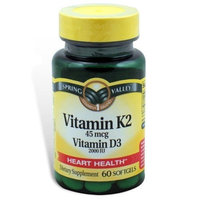 Spring Valley - Vitamin K2 45 mcg with Vitamin D3 2000 IU, 60 Softgels