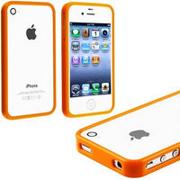 myLife Brand Products myLife Orange Slim Bumper (Metal Buttons - 360 Degree Side Protector) Gel Flex Case for the iPhone 4/4S (4G) 4th Generation Touch Phone (Soft Silicone Bumper Frame + Rubberized All Around Shock Absorbing Armor Skin)
