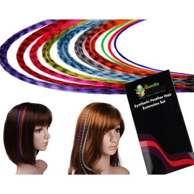 Bundle Monster (Trademark) New 20 Piece Grizzly and Solid Colored Feather Hair Extensions Kit with Silicone Beads and Hook in BM Gift Package