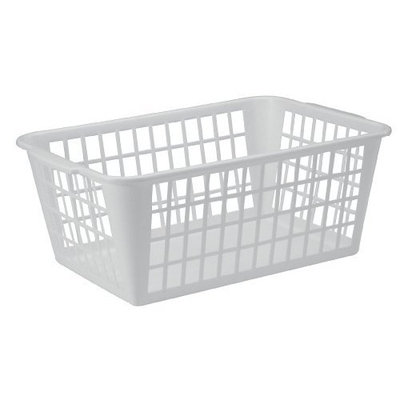 United Solutions BS0022 White Plastic Storage Utility Basket - Plastic Laundry Basket in White