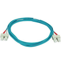 Monoprice 10Gb Fiber Optic Cable, SC/SC, Multi Mode, Duplex - 3 Meter (50/125 Type) - Aqua