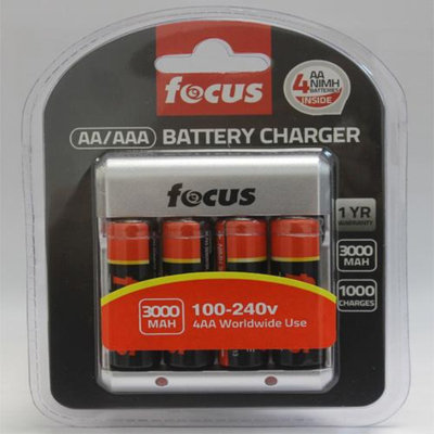Focus Camera Rechargeable NiMH AA Batteries with Charger