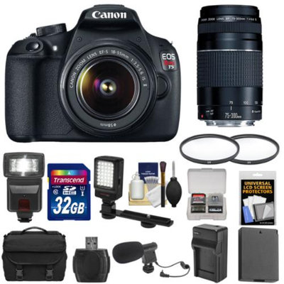Canon EOS Rebel T5 Digital SLR Camera Body & EF-S 18-55mm IS & 75-300mm III Lens + 32GB Card + LED Light + Microphone + Case + Battery & Charger Kit