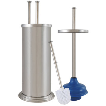 Ldr Industries Inc Plunger and Brush Combination with Canister Ashton Brushed Nickel Finish