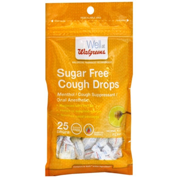Walgreens Sugar Free Cough Drops, Honey Lemon, 25 ea