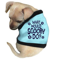 Pet Tease What Would Scooby Do? Dog Tank, Small, Blue