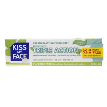 Kiss My Face Triple Action Fluoride-Free Natural Aloe Toothpaste Gel with Xylitol, Cool Mint, 4.5 oz