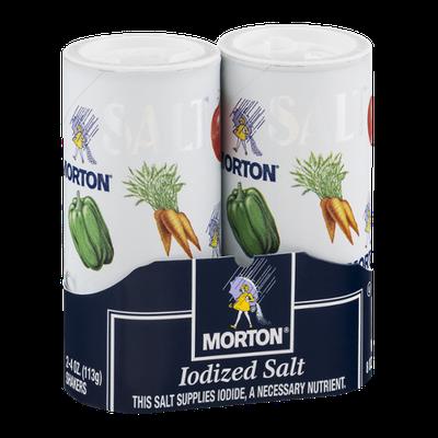 Morton Iodized Salt Shakers - 2 CT