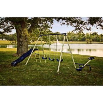 Flexible Flyer Triple Fun Steel Swing Set - Ivory/Blue