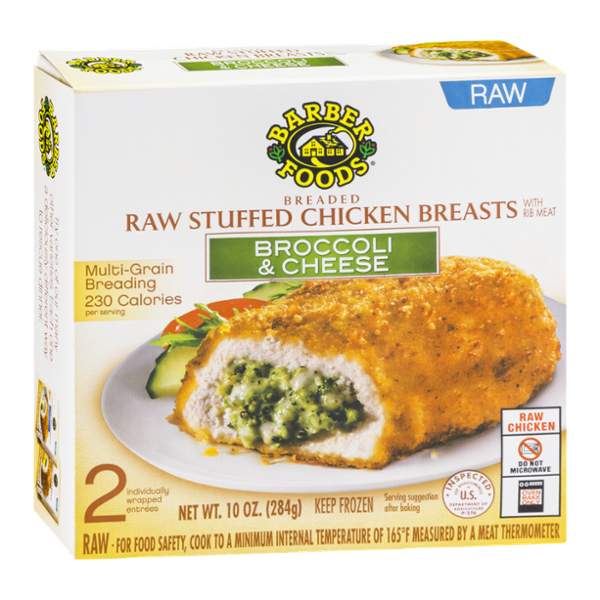 Barber Foods Raw Stuffed Chicken Breasts Broccoli Cheese 2 Ct