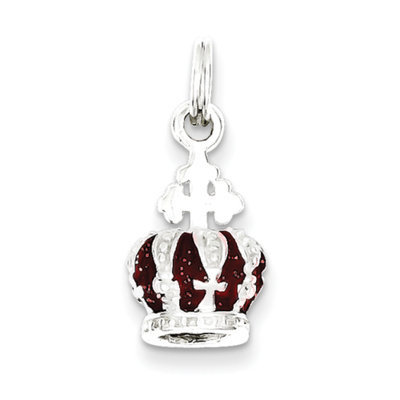 Cellini, Inc goldia Sterling Silver Red Enameled Crown Charm
