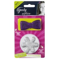 Goody Softies Stick on Barrettes in Purple Bow and Silver Flower