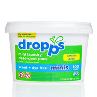 Dropps Hand/Machine Wash Mini Laundry Detergent Pacs, Scent Dye Free