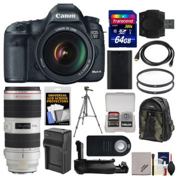 Canon EOS 5D Mark III Digital SLR Camera with EF 24-105mm L IS & 70-200mm f/2.8 L IS II USM Lens + 64GB Card + Case + Battery/Charger + Grip + Tripod Kit