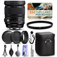 47th Street Photo Sigma 24-105mm F4 DG OS HSM Art Lens for Nikon (635306) with Starter Accessories Package includes UV Ultraviolet Filter + Deluxe Cleaning Kit + Air Dust Blower + Cap Keeper + $50 Prints Gift Card