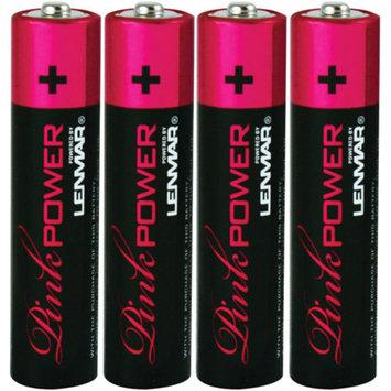 Lenmar PNKAAA4 Pink Power Alkaline Batteries, 4pk