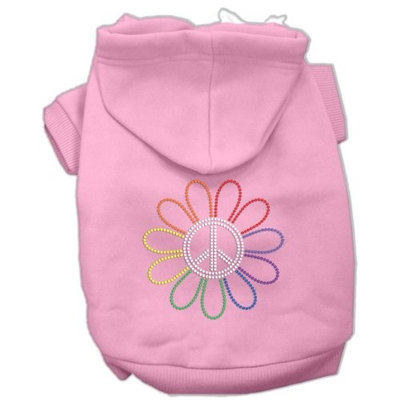 Mirage Pet Products 5469 XXXLPK Rhinestone Rainbow Flower Peace Sign Hoodie Pink XXXL 20