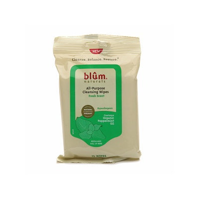 Blum Naturals All Purpose Cleansing Wipes with Organic Peppermint Oil