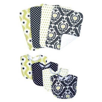Trend Lab 8-Piece Baby Bib and Burp Cloth Set - Waverly Rise and Shine by Lab