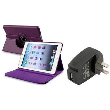 Insten iPad Mini 3/2/1 Case, by INSTEN For Apple iPad Mini 3rd 3 2nd 1 1st Gen Purple PU Leather Case Smart Cover Stand+TC