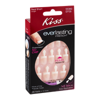 Kiss Everlasting French Pearl French Tip Nails Real Short Length - 28 CT