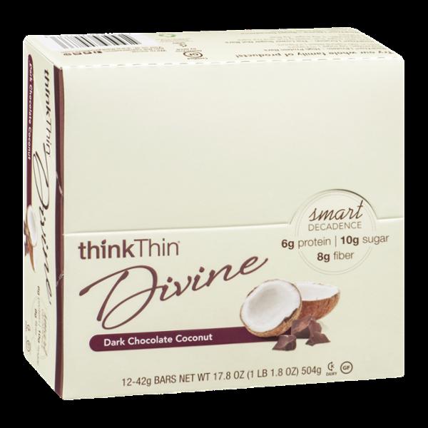 thinkThin Divine Bars Dark Chocolate Coconut - 12 CT
