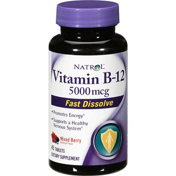 Natrol Vitamin B-12 Fast Dissolve Mixed Berry Supplement 5000mcg