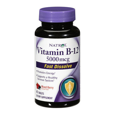 Natrol Vitamin B-12 Fast Dissolve Mixed Berry Supplement 5000mcg
