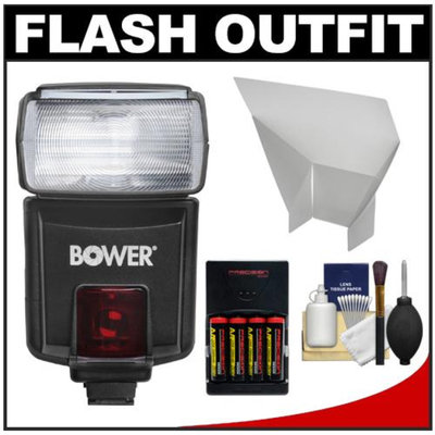 Bower SFD926O Digital Autofocus Power Zoom Flash (for Olympus/Panasonic) with Batteries + Reflector + Kit