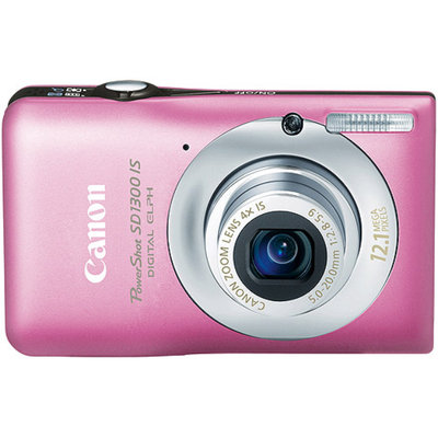 Canon PowerShot SD1300-IS Pink 12.1MP Digital ELPH Camera w/ 4x Optical Zoom, 2.7