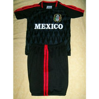 walas KIDS MEXICO BLACK SOCCER SET SIZE 10 (FOR AGES 8 & 9) JERSEY AND SHORTS (LINE ON SHORTS MAY BE RED OR WHITE SENT AT RANDOM)
