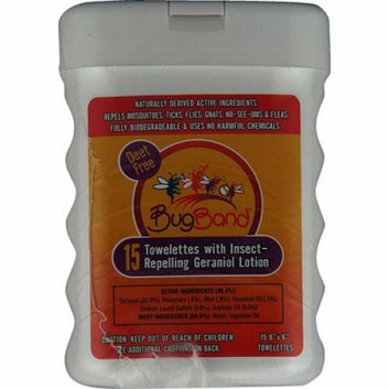 Bug Band Insect Repelling Towelettes 15 Towelettes Case of 12