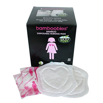 Bamboobies Premium Super Soft Disposable Nursing Pads - Breathable Milk-Proof Backing - Eco-Friendly - 60 Disposable Nursing Pads [Super Soft]