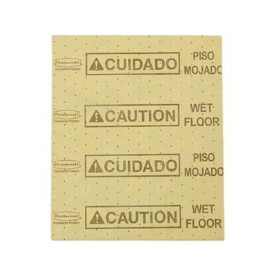 Rubbermaid Commercial RCP4252YEL Over-the-Spill Pads Polypropylene Caution Wet F