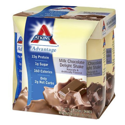Atkins Advantage Shakes 4 Pack Milk Chocolate Delight