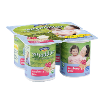 Stonyfield Organic Yo Toddler Whole Milk Yogurt with Fruit & Cereal Raspberry Pear - 4 CT
