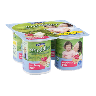 Stonyfield Organic Yo Toddler Whole Milk Yogurt with Fruit & Cereal Raspberry Pear - 4 CT