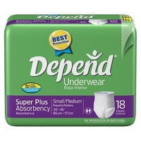Depend Super Absorbent Underwear, Small-medium, 18-Count Packages (Pack of 4)