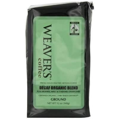 Weaver's Coffee Tea Weaver's Coffee, Decaf Organic Blend Ground Coffee, Full-bodied Malt & Caramel Overtones, 12-Ounce Bags (Pack of 2)