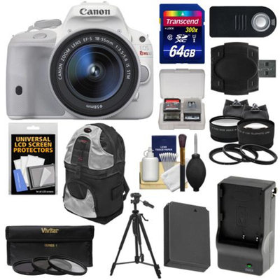 Canon EOS Rebel SL1 Digital SLR Camera & EF-S 18-55mm IS STM Lens (White) with 64GB Card + Battery & Charger + Backpack + Tele/Wide Lenses + Filters + Tripod Kit